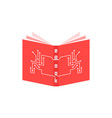 red ebook icon with pcb elements vector image vector image