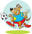 Cartoon Dog Playing Soccer vector image