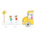 kids at bus stop vector image