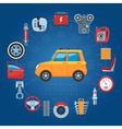 Car Parts Concept Icons vector image