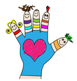 children hand puppets vector image
