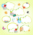 cloud stickers set decorated with school supplies vector image