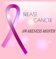 pink ribbon and breast cancer icon awareness vector image
