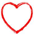 red heart contour brushstroke vector image