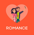 romance concept couple in love making selfie heart vector image