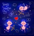 set wedding and valentines day design elements vector image