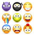 smiley set devil happyscaredsad emoticon vector image