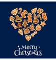 Christmas cookie heart composed of gingerbread vector image