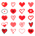 Set collection of various red hearts vector image