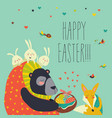 cute bear gives basket with ester eggs to fox vector image