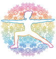 women silhouette warrior 2 yoga pose vector image