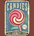 Lollipop retro sign design vector image