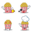 set of popcorn character with shopping karaoke vector image