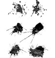 Set of six brush strokes with spray in gray vector image