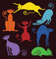Set of graceful cats vector image