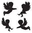 silhouettes of angels vector image