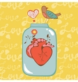 Concept love card with heart in jar vector image vector image