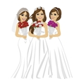 beautiful brides wearing different bride dresses vector image