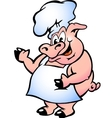 Hand-drawn of an pig chef wearing apron vector