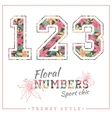 floral numbers for t-shirts posters card vector image