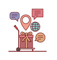 gift in freight carrier e-commerce shop online on vector image