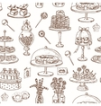hand drawn seamless pattern with sweets vector image