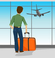 man standing with suitcase in airport vector image