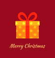 Merry Christmas with Gold Gift vector image