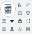 school icons set collection of college diploma vector image