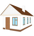 white house with brown door vector image