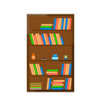 wooden books cabinet icon vector image