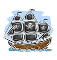 pirate cartoon sailing ship vector image