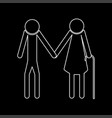 elder people stick white color path icon vector image