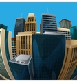 fisheye lens cityscape view city vector image