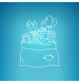 Bag of Santa Claus on a Blue Background vector image