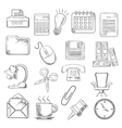 Business and office sketch icons vector image vector image