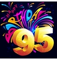 Fireworks Happy Birthday with a gold number 95 vector image