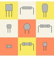 electronic components icons set resistors vector image