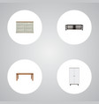 realistic wardrobe cupboard table and other vector image