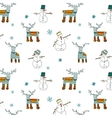Seamless Winter Patterns with Deers and Snowman vector image