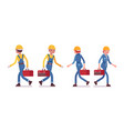 set of male and female worker walking rear front vector image