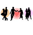 Silhouette of three dancing couples vector image