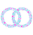 Two wedding rings with flowers vector image