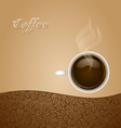Coffee with Beans on Brown Background vector image
