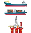 cargo ships and oil platform vector image