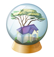 A crystal ball with a house vector image vector image