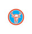 Bull Cow Head Nose Ring Circle Cartoon vector image