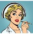nurse writes diagnosis vector image