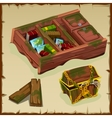 Set of antique bookcases chests and planks vector image