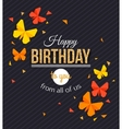 Happy Birthday Background with Paper Butterfly vector image